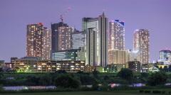 Kawasaki, Japan Cityscape Time Lapse at Night Stock Footage