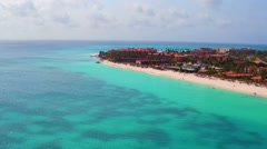 Aerial from Manchebo beach on Aruba island in the Caribbean Stock Footage