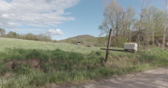 Driving Driver Side New York State Farm Road Barn Stock Footage