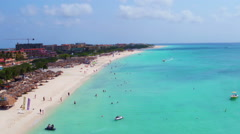 Aerial from Eagle beach on Aruba island in the Caribbean Stock Footage