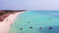 Aerial from Eagle beach on Aruba island in the Caribbean - stock footage