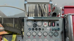 Tilt Up Firetruck Pump Panel Stock Footage