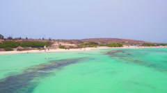 Aerial from Baby beach on Aruba island in the Caribbean Stock Footage