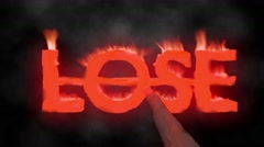Lose hot text brand branding iron loser metal flaming heat flames overlay 4K - stock footage