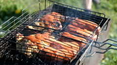 Sausages on the barbecue grill - stock footage