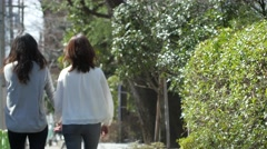 Female couple holding hands and walking downtown Tokyo Stock Footage