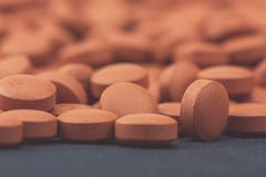 Medical pills background - macro photography - stock photo