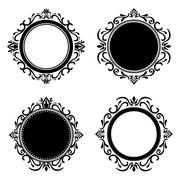 Stylish design. Decorated icon. Black and white illustration , vector - stock illustration