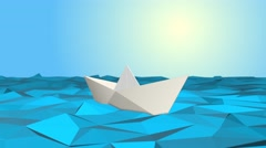 origami, paper boat - stock footage