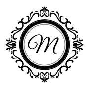 Stylish design. Decorated icon. Black and white illustration , vector - stock illustration