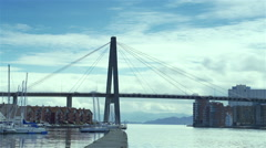 Fast motion with sea canal and bridge from Stavanger Norway Stock Footage
