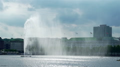 Beautiful fountain splashing water spectacular in the center of Hamburg Stock Footage