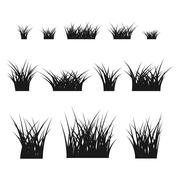 Grass bushes set black - stock illustration