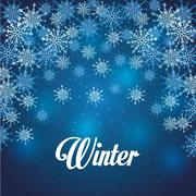Winter design. blue background. Flat illustration Stock Illustration