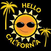 T shirt typography graphic quote Hello California - stock illustration