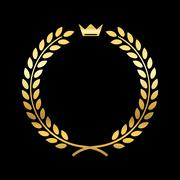 Gold laurel wreath with crown Stock Illustration
