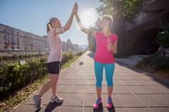 congratulate and happy to finish morning workout - stock photo