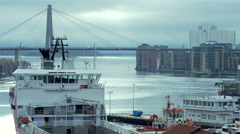 Movement along the Stavanger ship with a large bridge Stock Footage