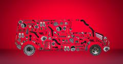 Images bus assembled from new spare parts Stock Photos