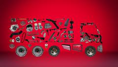 Images truck assembled from new spare parts - stock photo