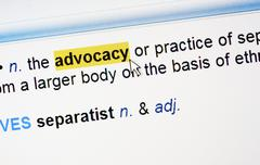 Highlighted word advocacy - stock photo