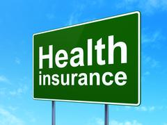 Insurance concept: Health Insurance on road sign background Stock Illustration