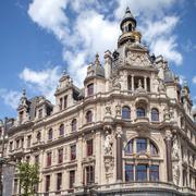 Old landmark next to famous Meir street in Antwerp - stock photo