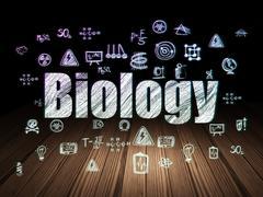Science concept: Biology in grunge dark room - stock illustration