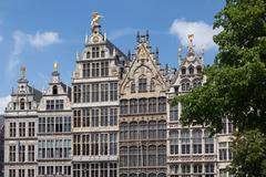Facades of Guild buildings in the Grote Markt square Stock Photos