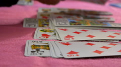 Card game timelapse - Russian bank, Crapette with tarot game card - Close up Stock Footage