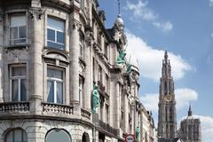 Old building in the city of Antwerp - stock photo