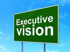 Business concept: Executive Vision on road sign background Stock Illustration