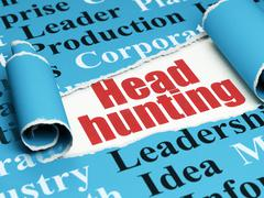 Business concept: red text Head Hunting under the piece of  torn paper - stock illustration