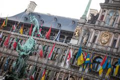 Antwerp's city hall with the Brabo fountain - stock photo