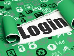 Privacy concept: black text Login under the piece of  torn paper - stock illustration