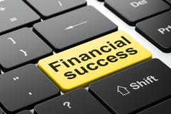 Currency concept: Financial Success on computer keyboard background - stock illustration