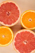 Close up, small slice of acid fruits, flat lay Stock Photos