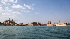 Venice, view on grand canal and basilica - stock photo