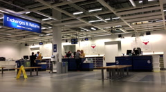 One side of exchanges and returns section  inside Ikea store Stock Footage