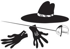 Black hat with gloves and epee Stock Illustration