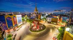 Bangkok, Thailand Chinatown Traffic Circle Time Lapse Stock Footage