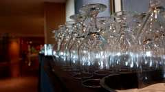Motion of empty glasses inside Pan Pacific Vancouver hotel. Stock Footage
