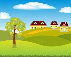 Village on hill - stock illustration