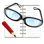 Note pad and pencil Stock Illustration
