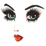 Beauty woman face - stock illustration
