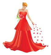 Blonde woman in red dress - stock illustration