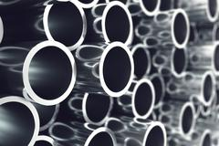 Heap of shiny metal steel pipes with selective focus effect. 3d illustration - stock illustration