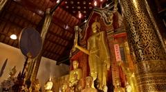 Bhudda in Wat Chiang Man, Chiang Mai, Thailand. Zoom out. Stock Footage