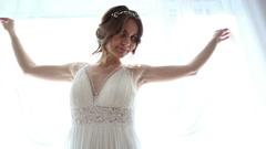 Bride in wedding dress Stock Footage