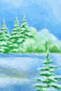 Winter Christmas Forest Landscape - stock illustration